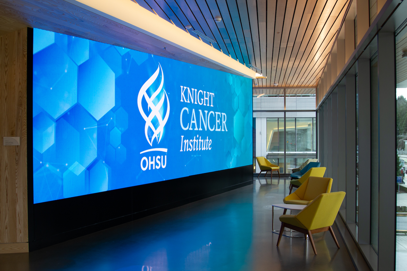 Knight Cancer Research Building video wall