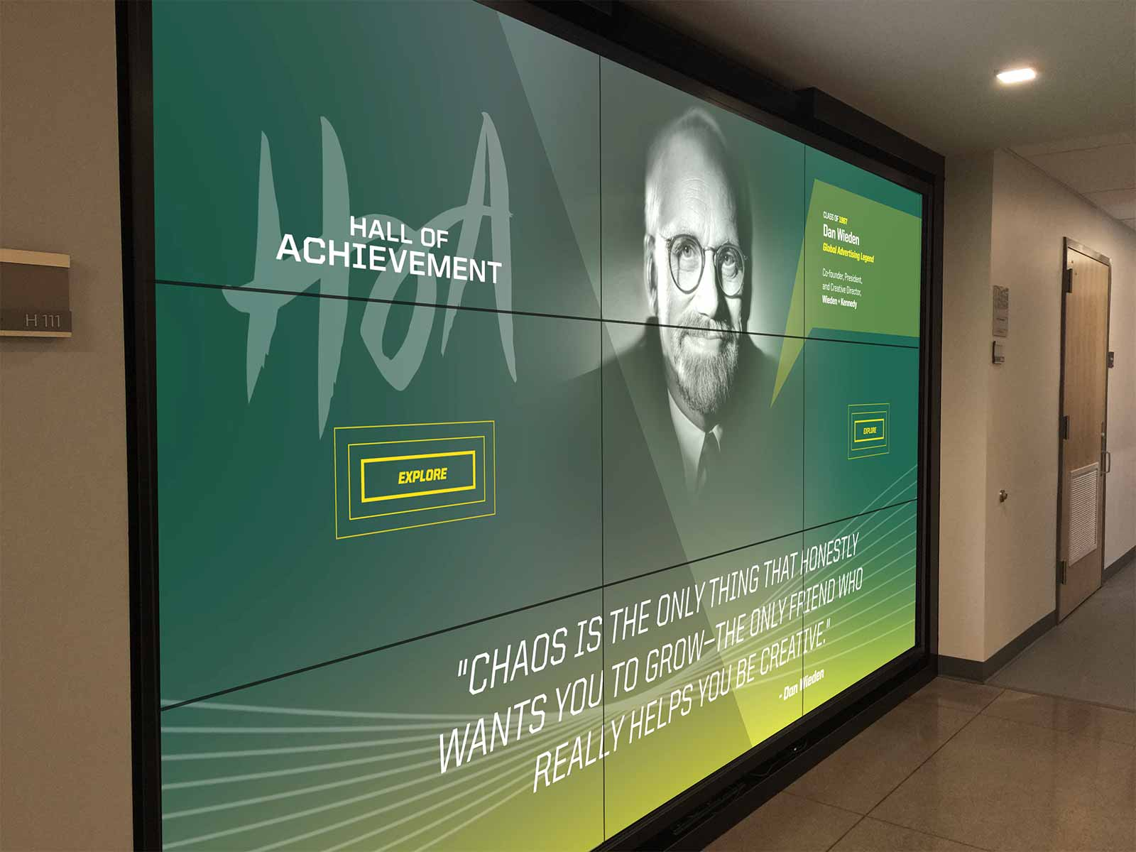 Hall of Achievement video wall