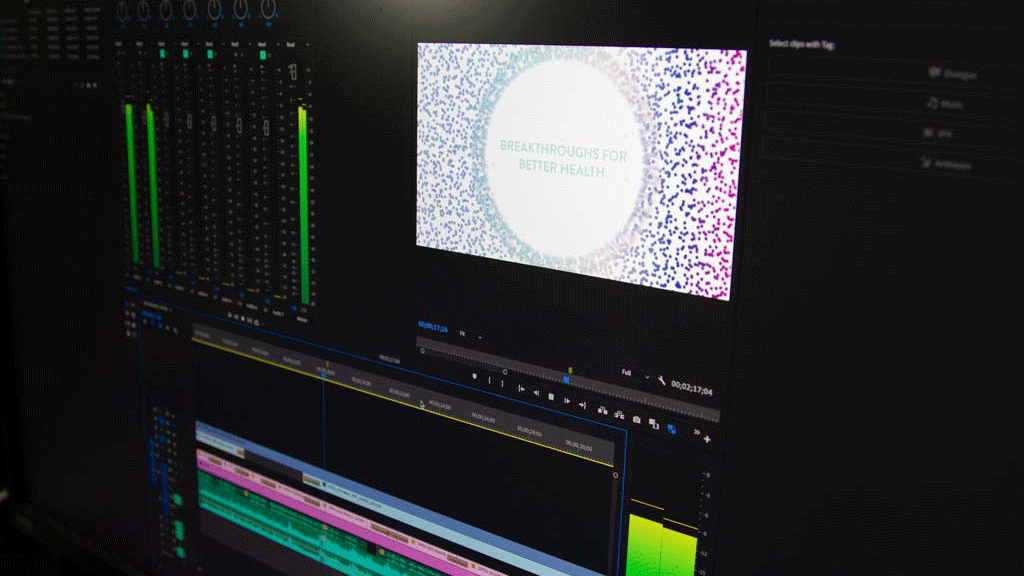 "Editing OHSU 2025 video, ""Breakthrough for better health"" appears on screen"