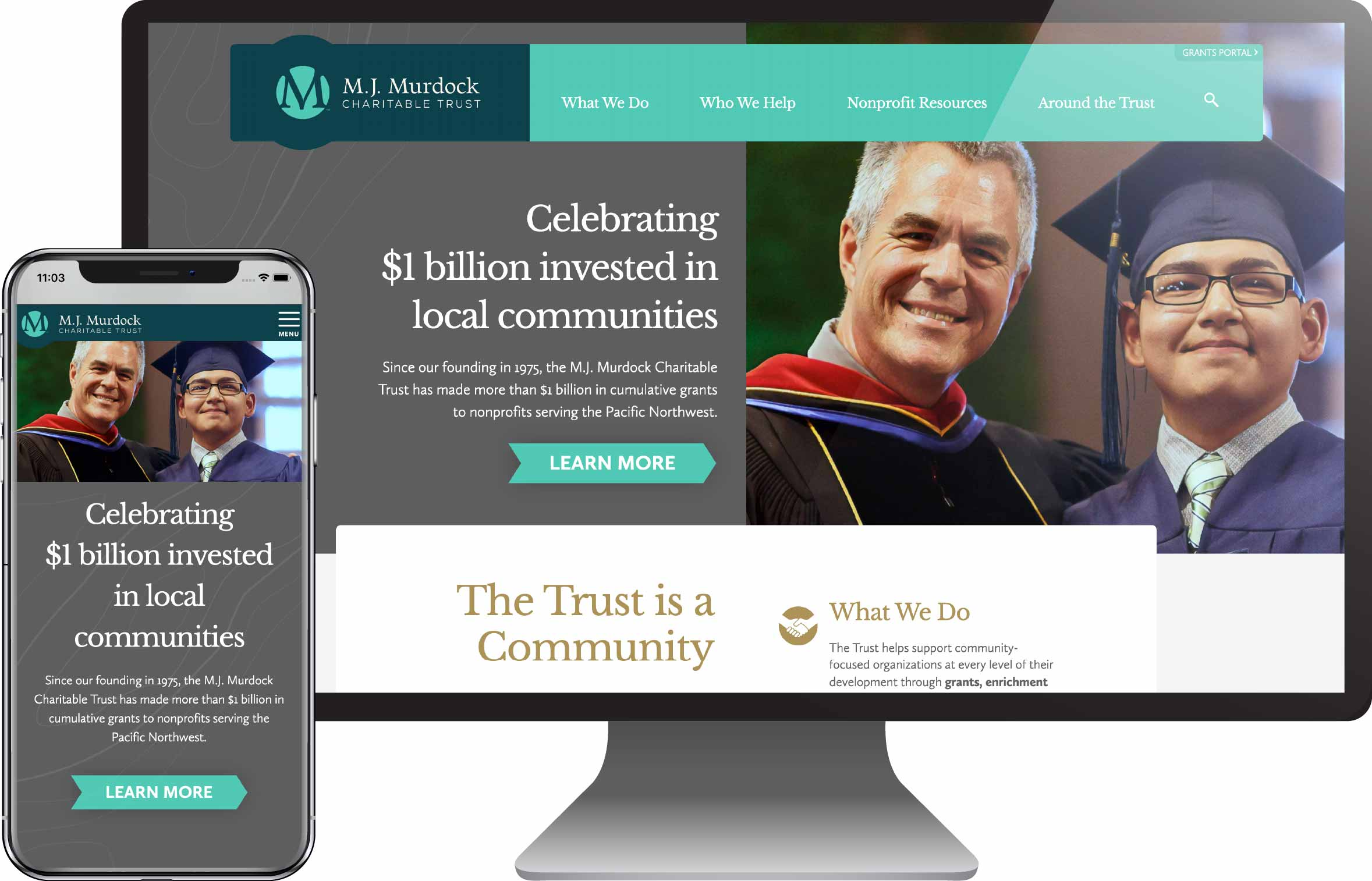 M.J. Murdock Charitable Trust new website design shown on desktop and mobile views
