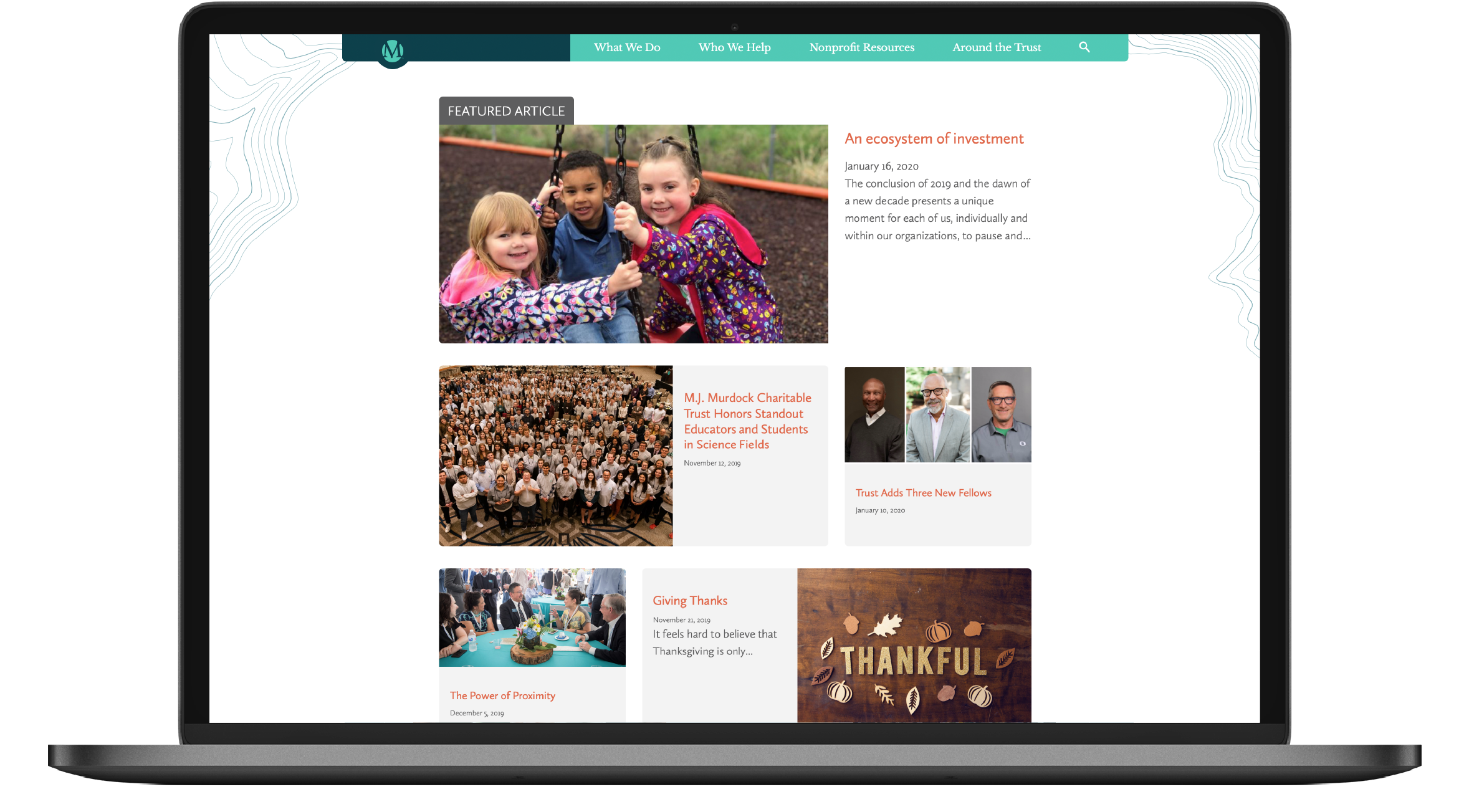 Screenshot of M.J. Murdock Charitable Trust blog on laptop