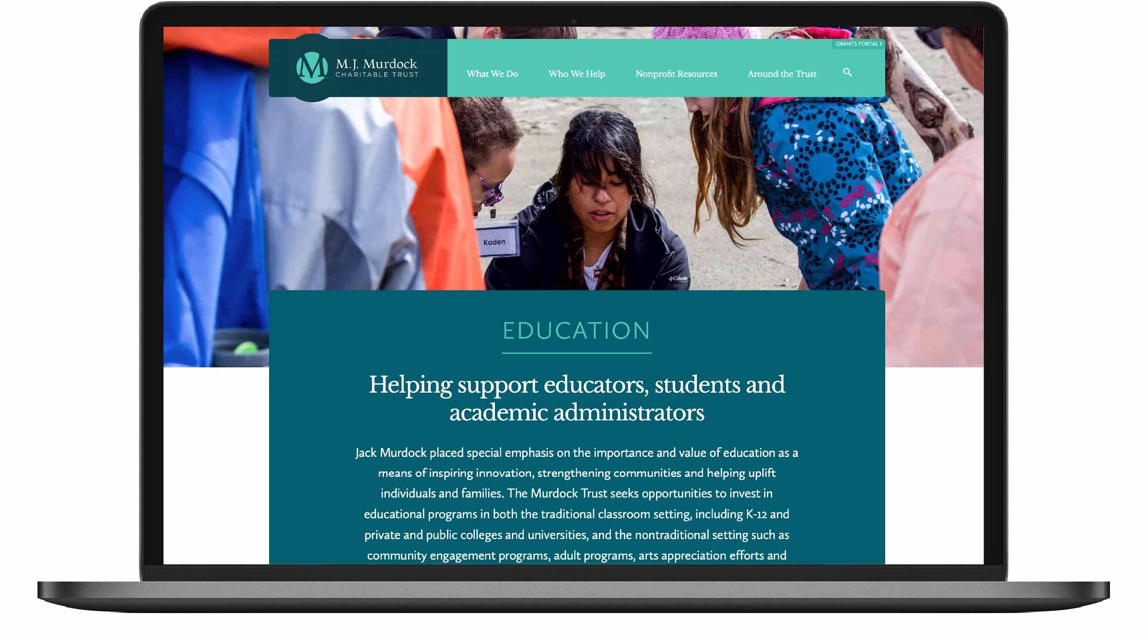 Screenshot of M.J. Murdock Charitable Trust sector page on laptop