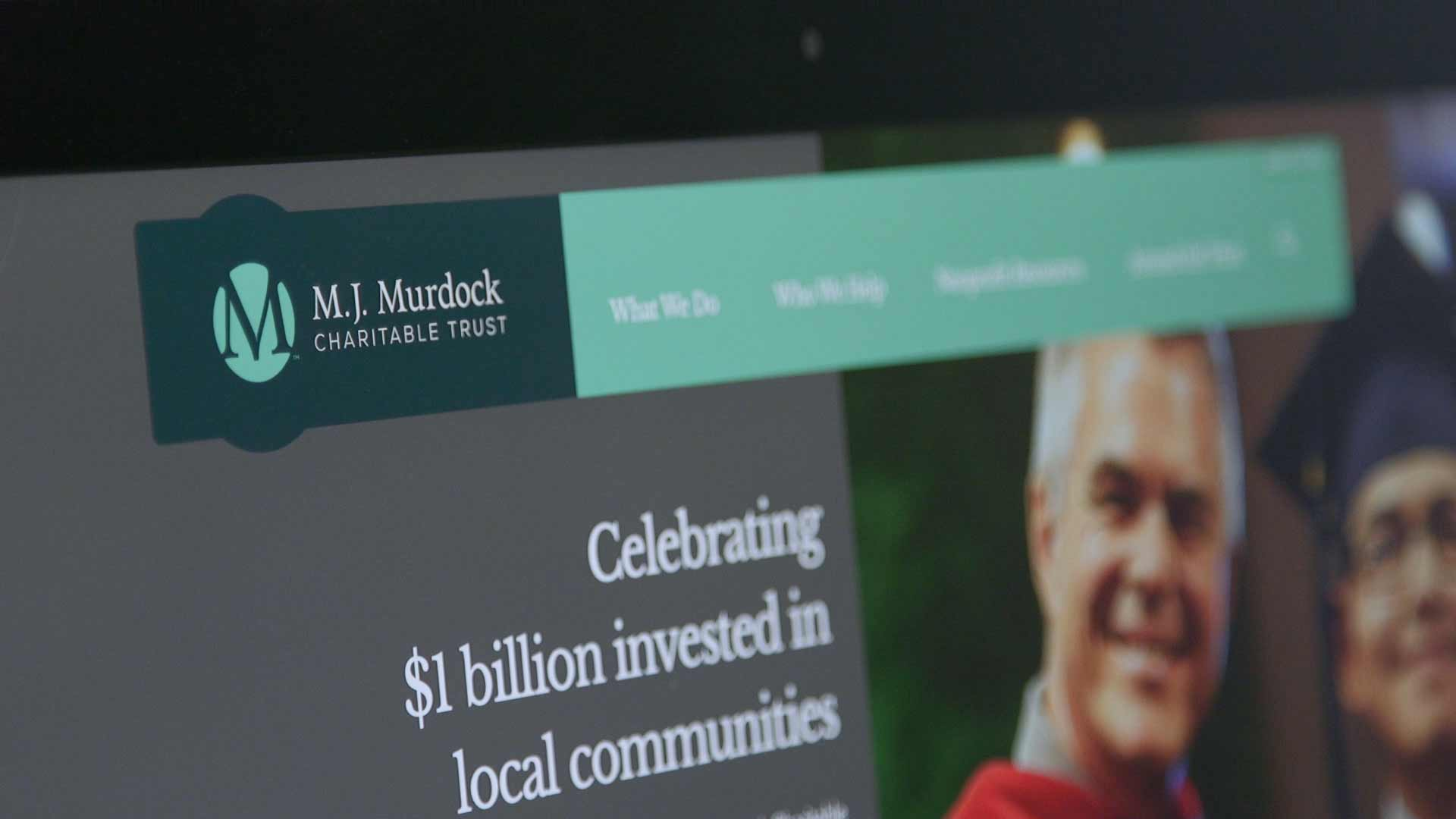 Photo of M.J. Murdock Charitable Trust website on desktop screen